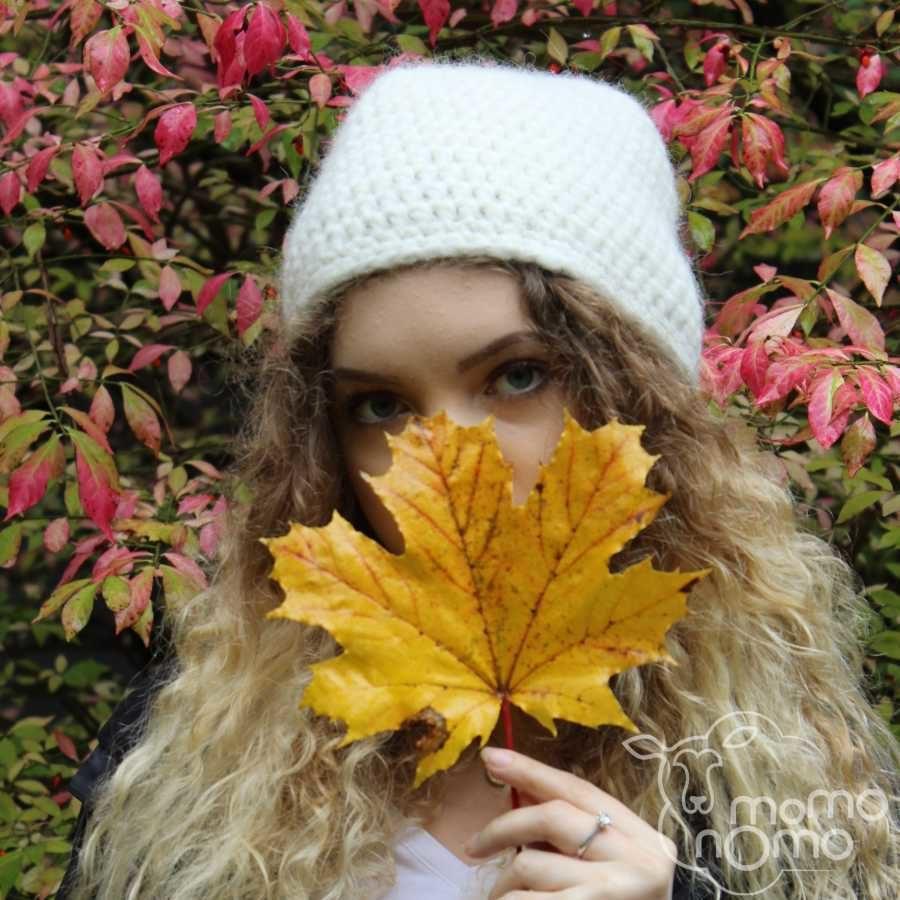 ręcznie wykonana delikatna czapka z naturalnej alpaki i wełny merino