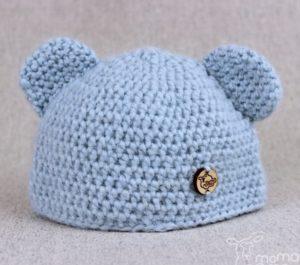 alpakowa czapka dziecięca z uszkami ręcznie robiona