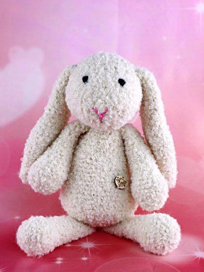 Pluszak królik z długimi uszami biały
