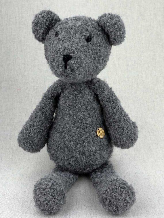 szary miś zabawka przytulanka ręcznie robiona z naturalnej alpaki