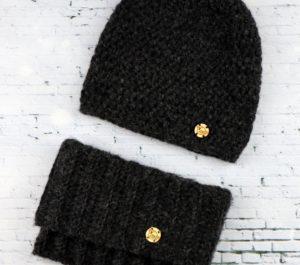 komplet czapka i komin czarny antracytowy