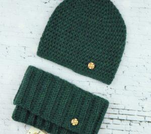 komplet czapka i komin z wełny alpaki ciemny zielony