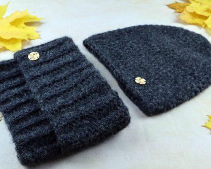 komplet czapka i komin z wełny alpaki kolor czarny:antracyt