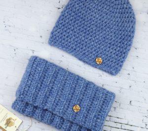 komplet z wełny alpaki czapka i komin niebieski