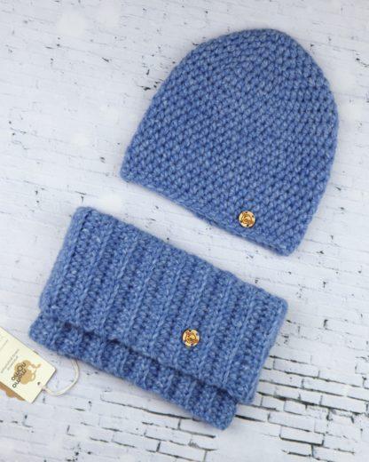 komplet czapka i komin alpaka niebieski