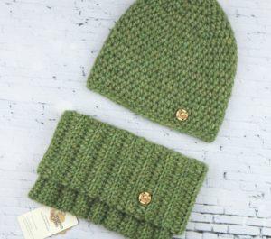 czapka i komin z alpaki jasny zielony