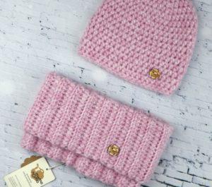 czapka i komin z alpaki różowy