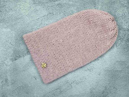 różowa czapka z naturalnej alpaki