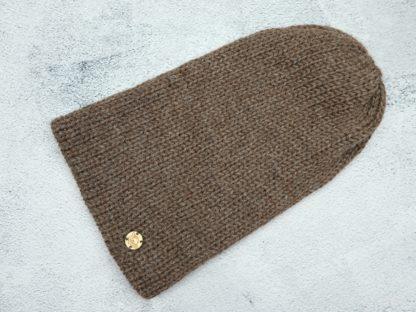 brązowa czapka z naturalnej alpaki