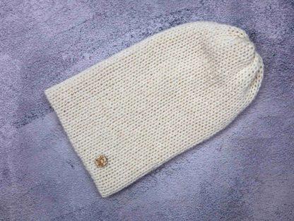 ecru biała czapka z naturalnej alpaki
