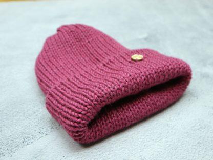 czapka ciemna różowa z alpaki