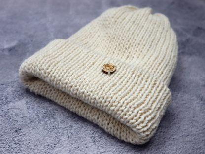 czapka ecru z alpaki