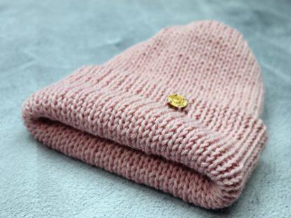 czapka pudrowy róż z alpaki