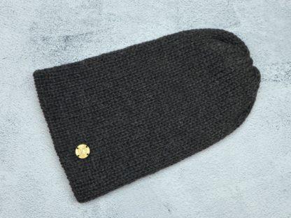 czarna czapka z naturalnej alpaki