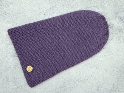fioletowa czapka z naturalnej alpaki