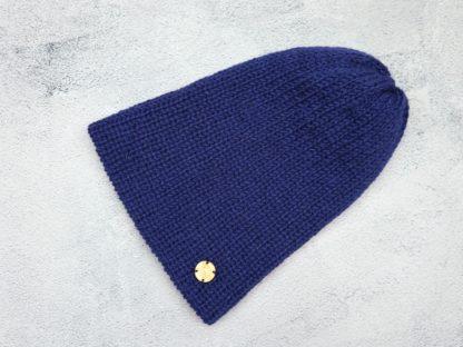 granatowa czapka z naturalnej alpaki