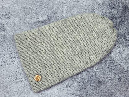 jasno szara czapka z naturalnej alpaki