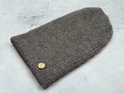 szara czapka z naturalnej alpaki