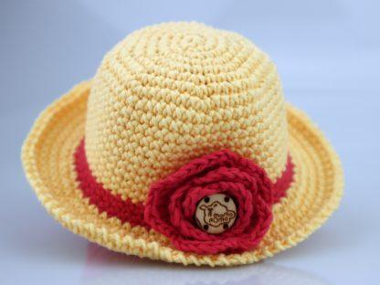 elegancki kapelusz z różą dla lalki żółty
