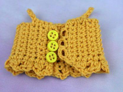 żółty top ubranko dla lalki starannie ręcznie wykonany