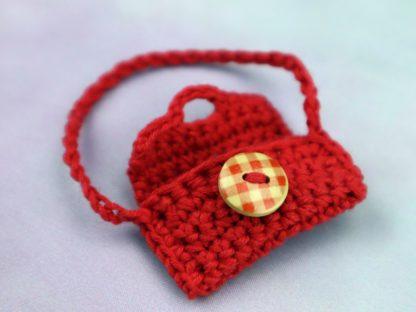 torebka dla lalki ręcznie robiona czerwona