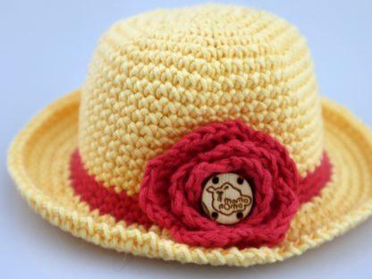 elegancki kapelusz dla lalki żółty