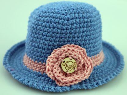 elegancki kapelusz dla lalki niebieski