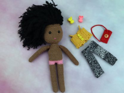 lalka z bawełny i alpaki afro i ubranka osobno
