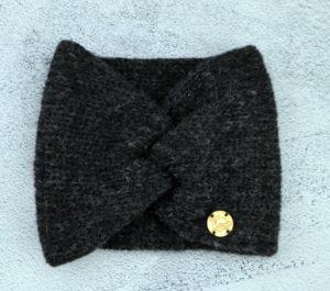 stylowa opaska z wełny alpaki - antracyt