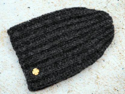 Czapka zimowa alpaka antracytowo - czarna