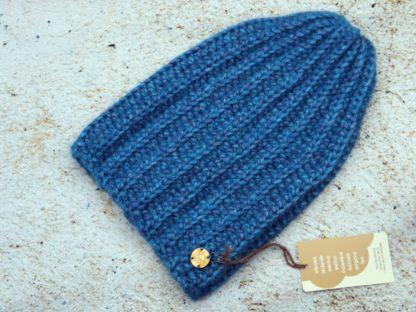 Szydełkowa czapka beanie - turkusowa