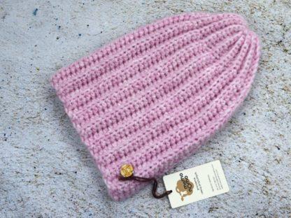 Zimowa czapka z alpaki - pudrowy róż