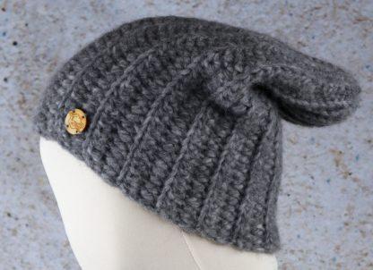 Szara czapka zimowa z wełny alpaki