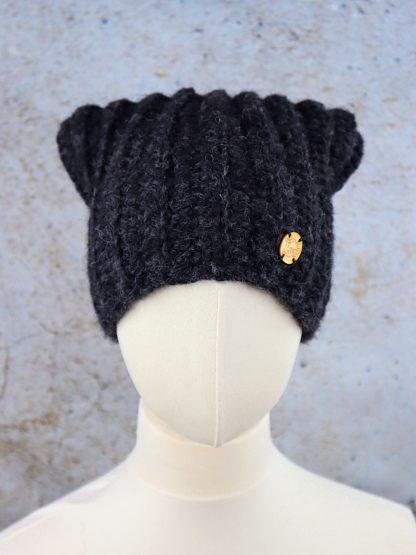 Czapka alpaka antracytowo - czarna