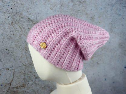 Zimowa ciepła i długa czapka z wełny alpaki - pudrowy róż