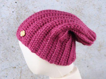 Wrzosowa czapka beanie z alpaki
