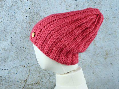 Stylowa długa czapka z alpaki - różowa