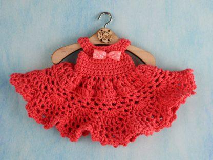 sukienka balowa dla lalki - koralowa