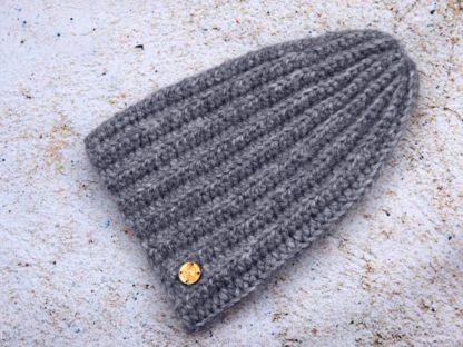 Szara czapka zimowa z alpaki