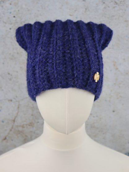 Granatowa czapka długa beanie z naturalnej alpaki