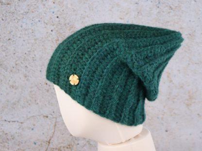 Długa czapka ręcznie zrobiona na szydełku naturalne alpaka - butelkowa zieleń