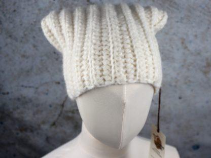 Ciepła czapka z naturalnej alpaki ecru