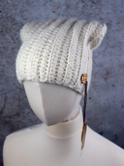 Ciepła długa czapka z naturalnej alpaki kolor kremowy - ecru