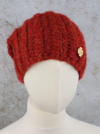 Pomarańczowa zimowa czapka z wełny alpaki