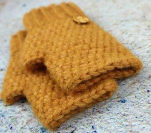 Rękawiczki damskie mitenki żółte