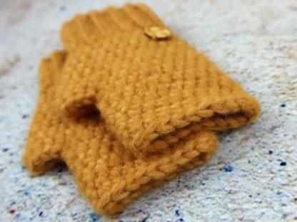 Rękawiczki damskie mitenki żółte w modnym kolorze