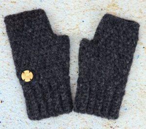 Rękawiczki damskie mitenki czarne (antracyt)