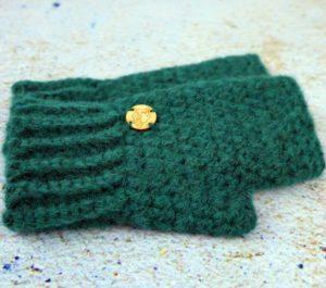 rękawiczki damskie bez palców zielone butelkowa zieleń