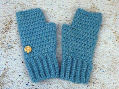 rękawiczki damskie z alpaki jasny turkus