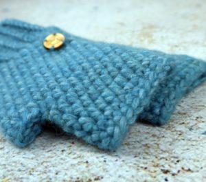 rękawiczki damskie z alpaki turkus